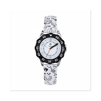 Watch Lulu Castagnette 38865 - P tale Bo tier Steel Silver Leather Bracelet White Blackout White Junior