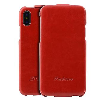 Pour iPhone XS, X Case, Elegant Fashion Vertical Flip Protective Leather Cover, Rouge
