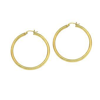 14k Geel goud gepolijst hoop oorbellen maatregelen 3x30mm sieraden geschenken voor vrouwen - 2,2 gram