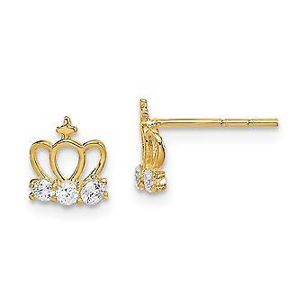 14k Madi K CZ Cubic Zirconia Simulerade Diamond Crown Post Örhängen Smycken Gåvor för kvinnor