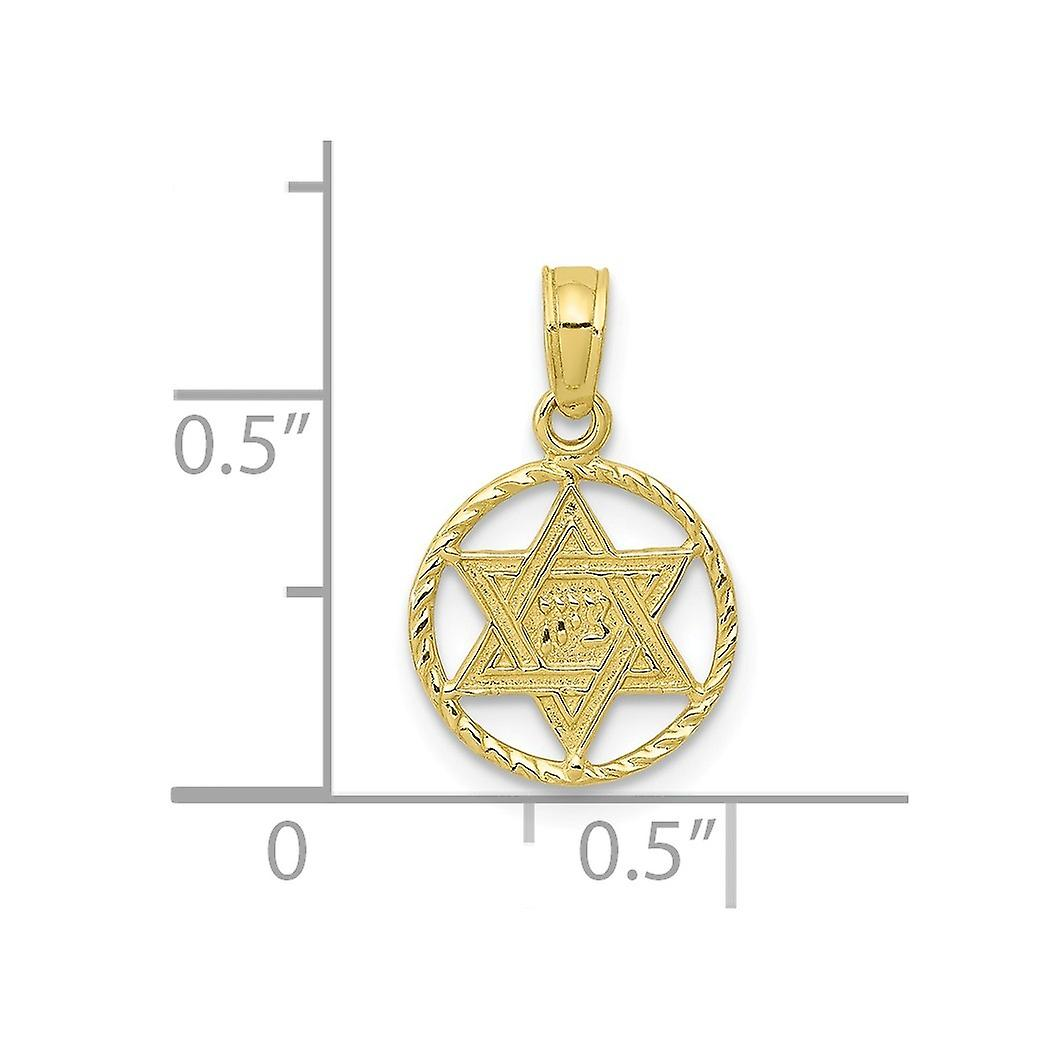 10k Gold Religious Judaica Star of David In Circle Frame Pendant Necklace Jewelry Gifts for Women