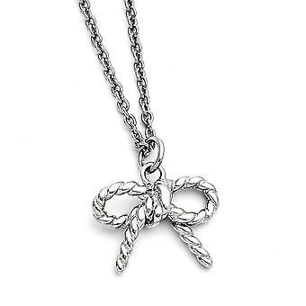 Stainless Steel Fancy Lobster Sluiting Twisted Bow gepolijste ketting 18 Inch sieraden geschenken voor vrouwen