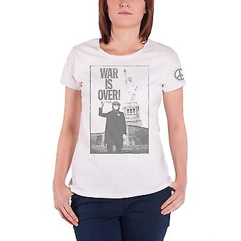 John Lennon T Shirt Liberty Lady War is Over Official Womens Skinny Fit White
