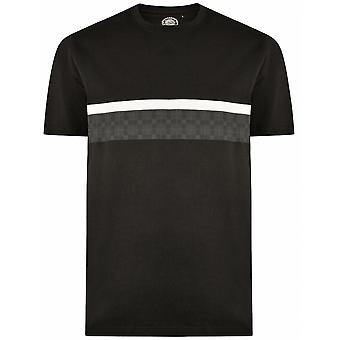 KAM Kam Contrast Chequered Print Over Chest Fashion T Shirt