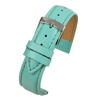 Light blue imitation leather watch strap stitched with chrome buckle