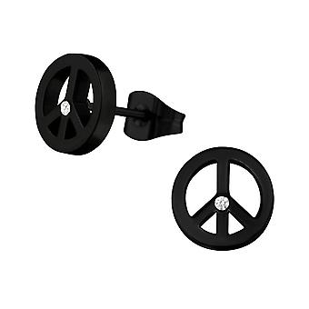 Peace Sign Black Surgical Steel and Crystal Stud Earrings