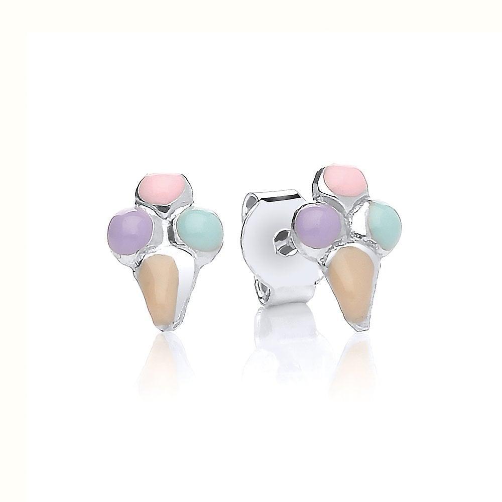 David Deyong Children's Sterling Silver Ice Cream Cone Stud Earrings