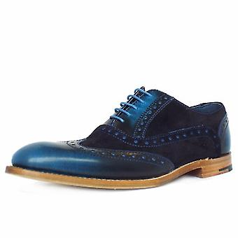 Barker Grant Men's Smart Wingtip Brogue Shoes In Blue Shine Combi Leather