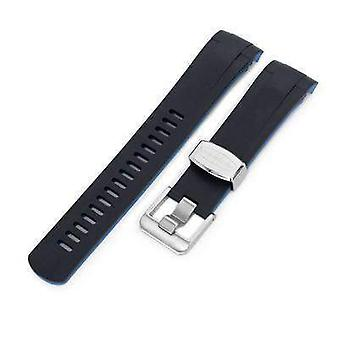 Strapcode rubber watch strap 22mm crafter blue - dual color black , blue rubber curved lug watch strap for tudor black bay m79230