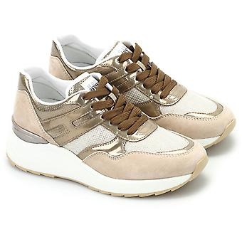 Hogan Women's wedges mid-top lace-ups sneakers in beige patent leather fabric