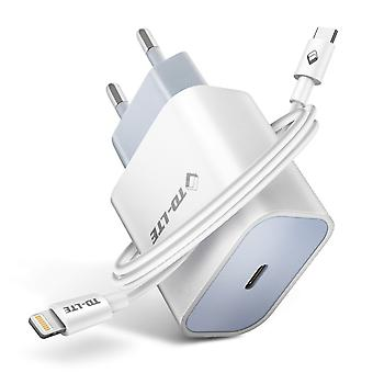 USB-C Wall Charger Snelladen 3A 18W Power Delivery Witte Lightning-kabel