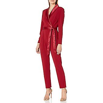 Adrianna Papell Women's Long Sleeve Crepe Jumpsuit with Tuxedo Collar, Red Sa...