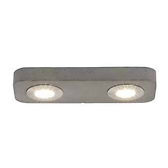 BRILLIANT Lamp Sonic LED Ceiling Lamp 2flg Grey Concrete | 2x 5W LED integrated, (420lm, 3000K) | Scale A++ to E | Made in Europe