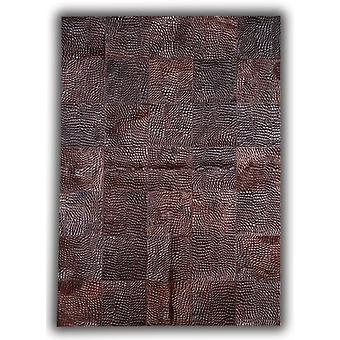 Rugs -Patchwork Leather Cubed Cowhide - Croco Brown D34