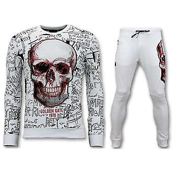 Jogging suit With Print - Neon Skull - White