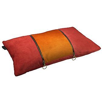Koristeellinen kaksinkertainen zip oranssi + ruoste punainen sametti tyyny