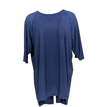 Cuddl Duds Women's Plus Pajama Top Smart Comfort Short Slv Blue A346880
