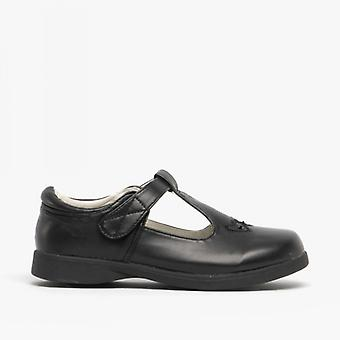 Boulevard Girls Touch Fasten T-bar School Shoes Black Matt