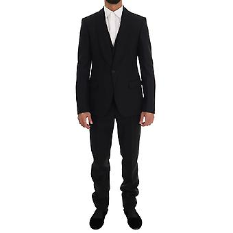 Dolce & Gabbana Black Wool One Button Slim Fit Suit