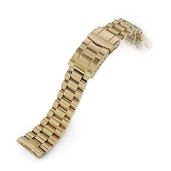 Strapcode watch bracelet 22mm endmill 316l stainless steel watch bracelet for seiko new turtles srp777, submariner clasp full ip gold