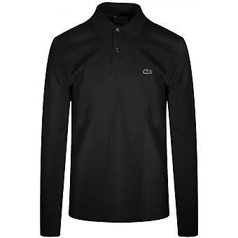 لاكوست كلاسيك L1312 أسود طويل الأكمام قميص بولو