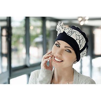 Hoofd sjaals voor kanker UK - Yanna Navy White Lilium