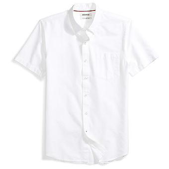 Goodthreads Men&s Slim-Fit Krótki rękaw Solidna koszula oxford z kieszenią, biały...