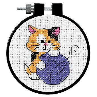 Cute Kitty Counted Cross Stitch Kit With Hoop