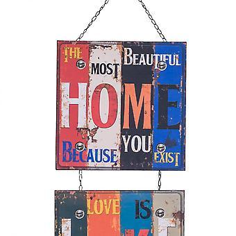 Rebecca Meubles Plaque Wall Metal 3 Panneaux colorés 115x30