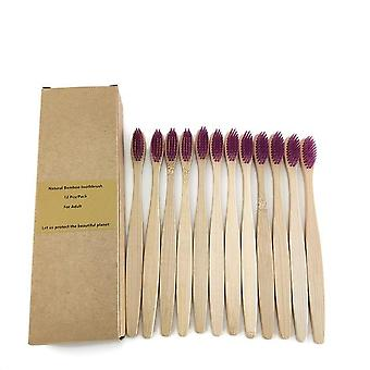 12 Pcs Bamboo Charcoal Toothbrush With Soft Bristles - Eco Friendly, Oral Care