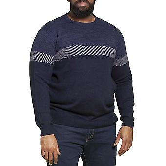 Duke D555 Hommes Corby Big Tall Kingsize Crew Neck Colourblock Sweater Jumper Top