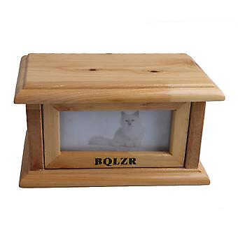 Wood Color Clamshell Photo Frame Pet Dog Urn Ashes Box 175*105*95mm