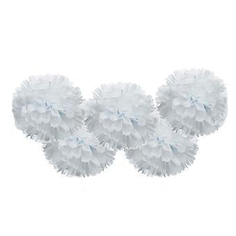 5PCS Tissue Paper Bloemen handgemaakte decor 35CM Wit