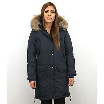 Winter coat - Parka With Fur Collar - Blue