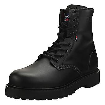 Tommy Jeans Lace Up Boot Mens Biker Boots in Black