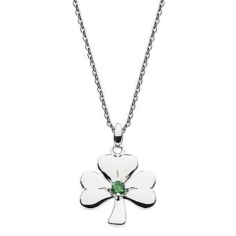 Heritage Sterling Silver Shamrock Green Cubic Zirconia Pendant 9316GCZ024