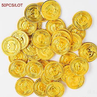 50pcs Plastic Gold Coin For Children Kids Party Toys For Halloween Cosplay Props- Treasure Coins Boys Interactive Games (50pcs Coins)