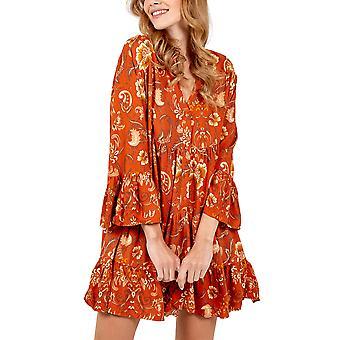 Hi Low Hem Smock Tunic Dress | Rust