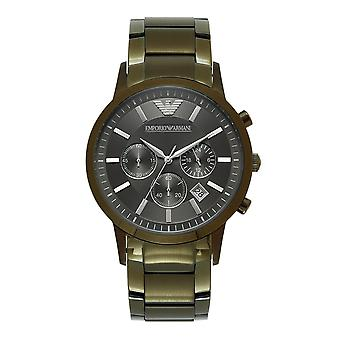 Armani Ar11117 Khaki Green Stainless Steel Chronograph Men's Orologio