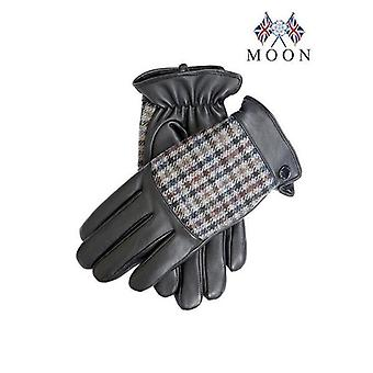 Black Leather & Abraham Moon Dogtooth Fabric Gloves