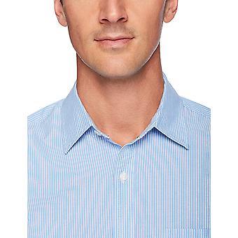 Essentials Heren's Regular-Fit Short-Sleeve Casual Poplin Shirt, blauwe streep, XX-Large
