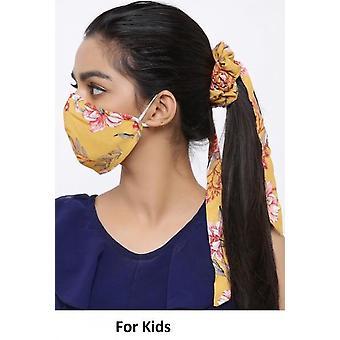 أزياء القطن القابلة للغسل الفم للأطفال مع Scrunchie - الزهور الصفراء
