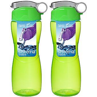 Sistema Hourglass Drink Bottle 645ml Green x 2