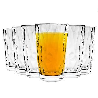 Bormioli Rocco Diamond Highball Cocktail Glasses Set - 470ml - Pack of 6