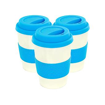 Reusable Coffee Cups - Bamboo Fibre Travel Mugs with Silicone Lid, Sleeve - 350ml (12oz) - Blue - Pack of 3