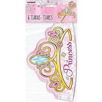Unique Party - Paper Pink Princess Tiaras Pack of 6  (58138)