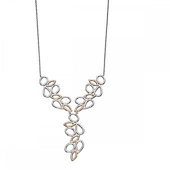 Elements Silver Silver Rose Gold Plated Contrast Shape Necklace N4074
