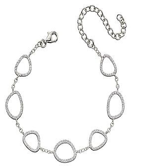 Elements Silver Zirconia Pebble Outline Station Bracelet B5222C