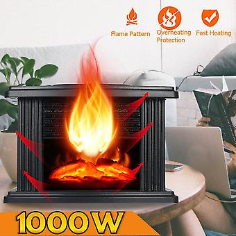 Portable Electric Fireplace Stove Heater Tabletop Indoor Space 1000w Household
