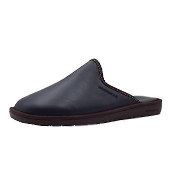 Nordikas 131 Norwood Men's Luxury Leather Slippers In Navy & Brown